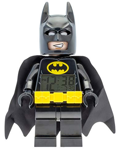 LEGO Batman 9009327 Batman Kinder-Wecker mit Minifigur , schwarz/gelb , Kunststoff , 24 cm hoch , LCD-Display , Junge/ Mädchen , offiziell