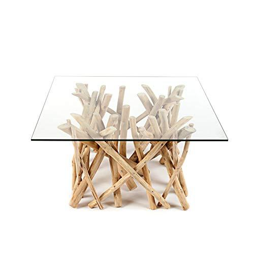 Invicta Interior Design Teakholz Couchtisch Driftwood mit Glasplatte eckig Tisch Treibholz Holztisch Wohnzimmertisch