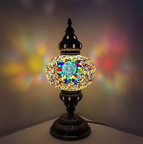 Turco colorido marroquí de Bohemia Tabla cabecera del escritorio de la lámpara luz de la noche con el Reino Unido/UE del enchufe, lámpara de cristal, lámpara de mesa Decoración (Color : TF03)