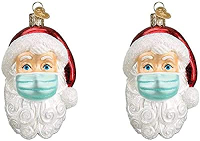 Christmas Ornaments 2020, Santa Face Mask Christmas Decorations, Faceless Santa Christmas Tree Ornaments, Hanging Polyresin Ornament Holiday Decor Creative Blessing Gift for Family, Friend (2PC) (2PC)