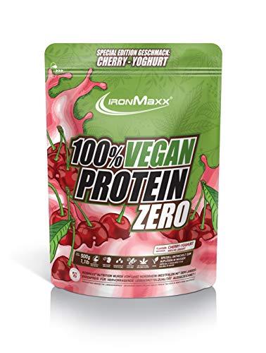 IronMaxx Vegan Protein Zero Cherry Joghurt - Veganes Proteinpulver aus hochwertigen, pflanzlichen Proteinquellen - 4 Komponenten Eiweißpulver ohne Soja und zuckerfrei, 500g