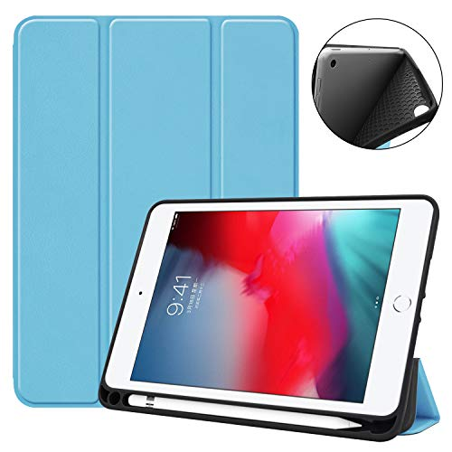 Funda para iPad Mini 5 con soporte para lápiz, funda triple con fuerte protección con función de encendido y apagado automático para Apple iPad Mini 5 (2019)/Mini 4 (2015), color azul