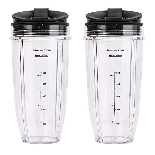 2 Pack Blender 24 oz Cups with Sip & Seal Lid 710ML Measuring Scale Container Replacement Compatible with Nutri Ninja Auto IQ Blender BL482 BL642 NN102 BL682 BL2012 BL2013