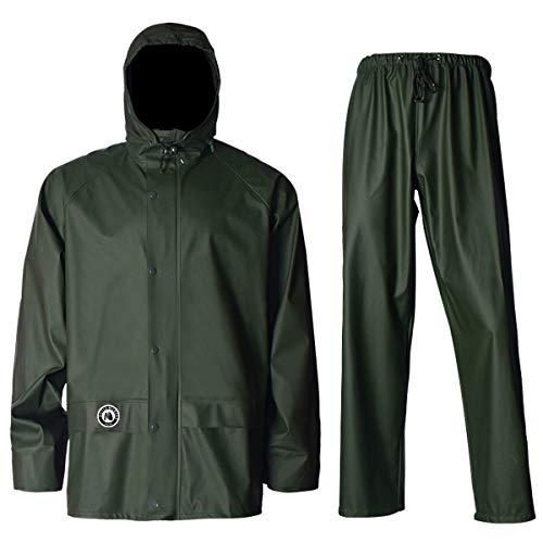 Navis Marine Regenanzug für Männer und Frauen, strapazierfähig, Arbeitskleidung, wasserdichte Jacke mit Hose, 3-teilig - Grün - 3XL (6'6