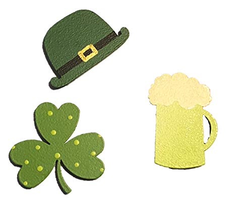 Roeda Brighten Your Life 13826G St. Patty's Day Green Beer Leprechaun Hat and Shamrock Set of 3 magnets Made in USA