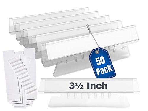 1InTheOffice Clear Hanging Folder Tabs, and Inserts 3-1/2' x 5/8', 50/Pack (3 1/2')