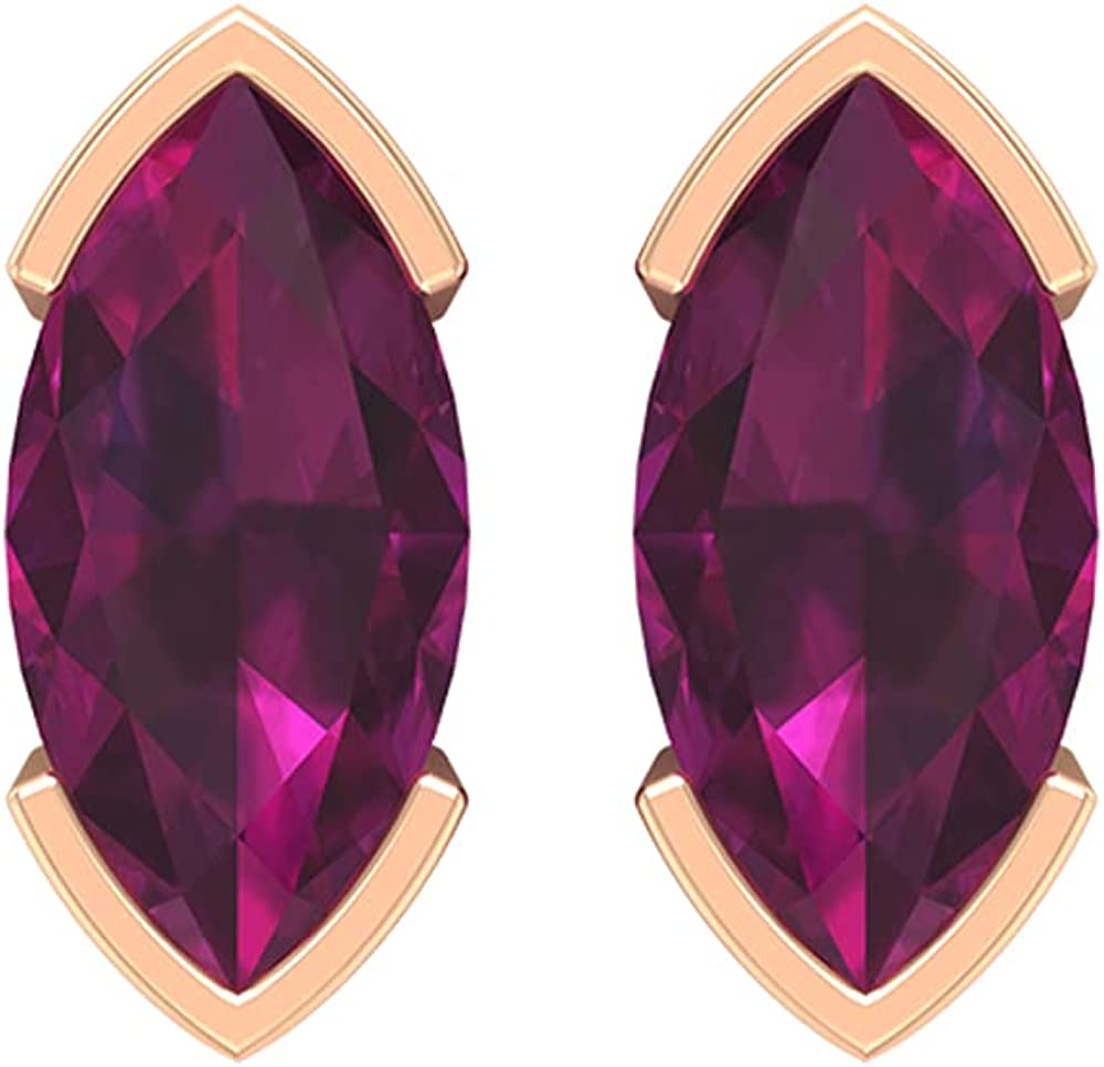 1.50 CT Marquise Cut Rhodolite Solitaire Stud Earrings (AAA Quality),14K Rose Gold,Rhodolite