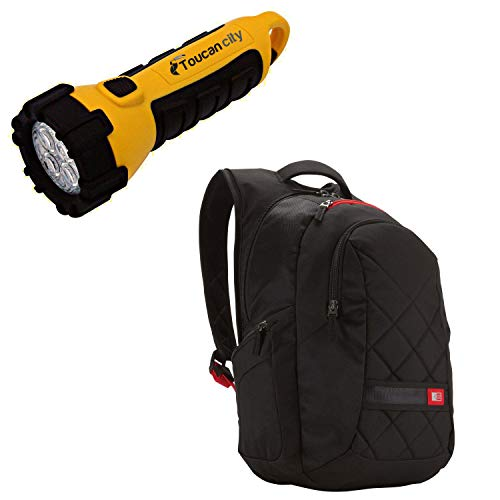 Toucan City LED Flashlight and Case Logic Black Backpack with 16 in. Laptop Compartment 3201268