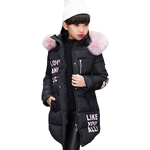 LSERVER Winter große Pelzkragen mit Kapuze langärmelige Mädchen Baumwolle Gepolsterte Kinder Daunenjacke, Schwarz, 134/140(Fabrikgröße: 140)