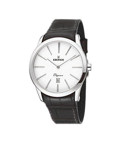 Kronos - Elegance Silver 973.105 -Reloj de caballero de cuarzo, correa de piel marrón, color esfera: plateada