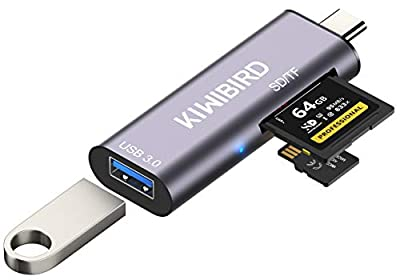 KiWiBiRD USB C SD Micro SD TF Card Reader, Type-C to USB 3.0 Adapter Compatible with MacBook, iPad Pro 2020/2018, Dell XPS, Galaxy S20/Note 20/Tab S6/Tab S7, Surface Go 2, Android Phone, Chromebook