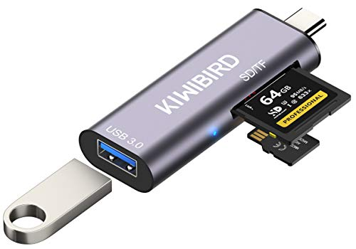 KiWiBiRD Lector de Tarjetas USB C SD Micro SD, Adaptador Tipo C a USB 3.0 para SDHC SDXC MicroSD Compatible con MacBook, iPad Pro 2020, DELL XPS, Galaxy S20/Note 20/Tab S7, Surface Go 2, Chromebook