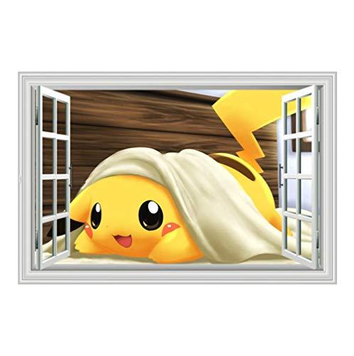 3d Wandtattoo GefäLschter Fotorahmen Pokemon In Decke Pikachu 60x90cm Wanddekoration Tapete FüR Schlafzimmer Wohnzimmer Kinderzimmer