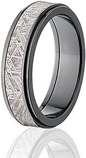 6mm Black Meteorite Wedding Band, Meteorite Rings w/ Comfort Fit