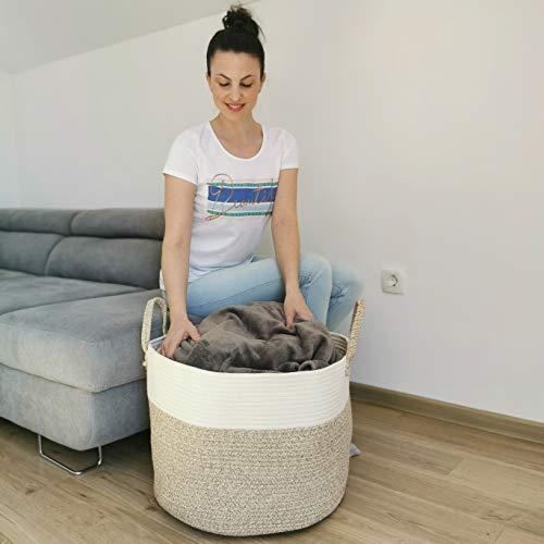 Deco haus Wäschekorb aus Baumwolle 35x50cm - Für Aufbewahrung von Wäsche, Bücher, Spielzeug, Decken, Kissen etc. - Faltbar, robust, praktisch - Stylisch, neutrale Farben - Handgemacht, chemiefrei