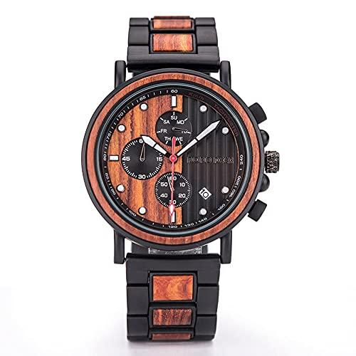 yuyan Relojes de sándalo, Textura, Salud, Elementos de Moda Natural, Relojes de Madera for Hombres, Movimientos de Cuarzo Hechos a Mano Importados de Japón