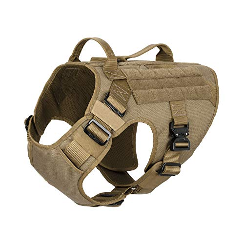 ICEFANG GN1 Tactical Dog Harness with 5 Point Adjustable ,Full Metal Clip,2X Handle,Walking Training Dog MOLLE Vest ,Hook and Loop Panels (M (Neck:16
