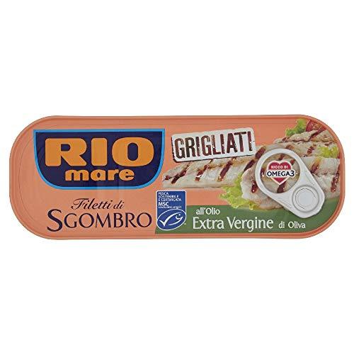 Rio Mare Filetti di Sgombro Grigliati all'Olio Extra Vergine di Oliva, Ricchi di Omega 3, 120g