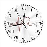 Xukmefat Herz-Stethoskop-runde Wanduhr leise, Nicht tickend, las Zuhause/Büro/Schuluhr