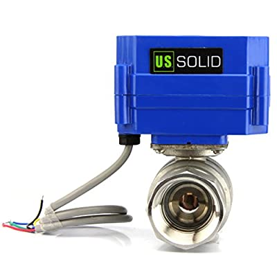 "Motorized Ball Valve- 1"" Stainless Steel Electrical Ball Valve with Full Port, 9-24V DC and 5 Wire Setup, can be used with Indicator Lights, [Indicate Open or Closed Position] by U.S. Solid by U.S. Solid"