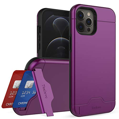 Teelevo Wallet Case for iPhone 12 Pro Max, Dual Layer Case with Card Slot Holder and Kickstand for iPhone 12 Pro Max - Purple