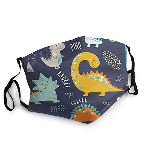 Divertido dinosaurio para niños, colorido, resistente al polvo, resistente al viento, toalla lavable, cubierta para el rostro, cubierta para el polvo, hombres y mujeres