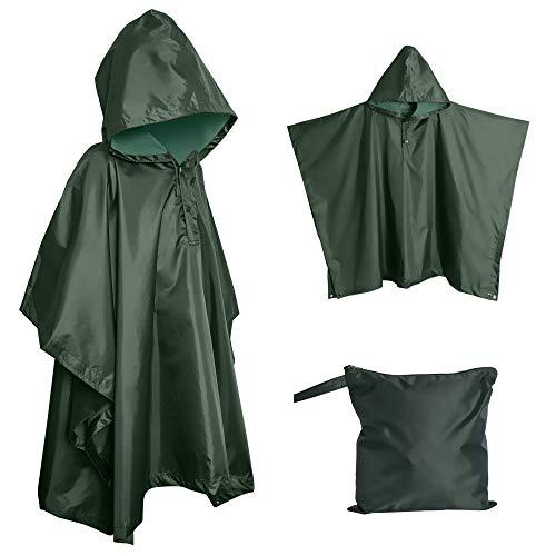 Lingito Heavy Duty Rain Poncho, Poncho for Backpacking, Waterproof Lightweight Rain Ponchos for Adults, Military Poncho as Emergency Rain Poncho, Camping Poncho Men Women with Bag (Child-Green)