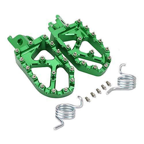 JFG RACING Pedales de pie anchos CNC para motocicleta para H.o.n.d.a CR125 CR250 CRF150R CRF250R CRF250X CRF250RX CRF450R CRF450RX CRF450X CRF250L CRF250M CRF250RALLY CRF450RALLY L-Green