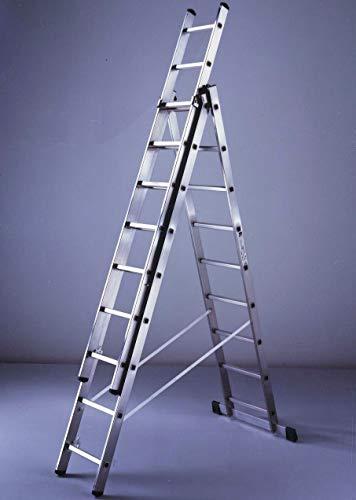 Scala combinata in alluminio a tre elementi 9 gradini