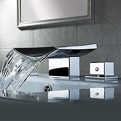 AUXO Modern Waterfall Widespread Bathroom Faucet 3 Holes 2 Handles Sink Faucet in Polished Chrome
