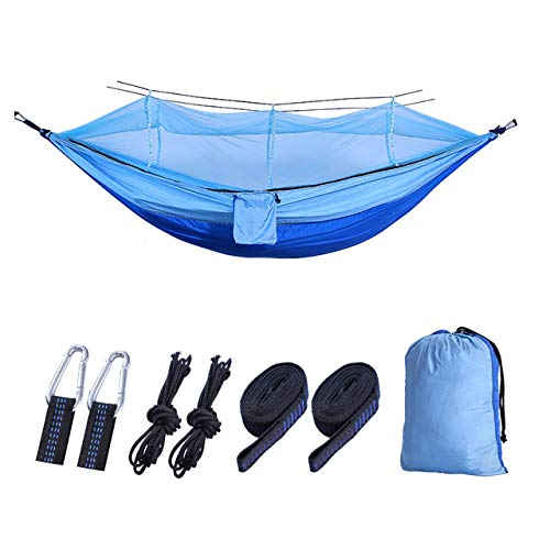 LITIAN Acampar Anti-Mosquitos Hamaca, de Nylon de paracaídas de Tela Ultraligero Hamaca, se Puede Utilizar para IR de excursión el Playa Aventura 260 * 140cm Royal Blue Fight Light Blue