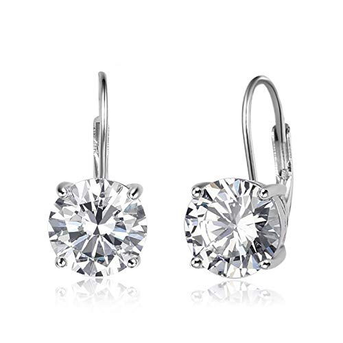 AMDXD Women's Square and Round Cubic Zirconia Oriental Wedding Earrings, Silver Earrings, 8 mm x 8 mm, Birthday Gift with Gift Bag and Box Rond