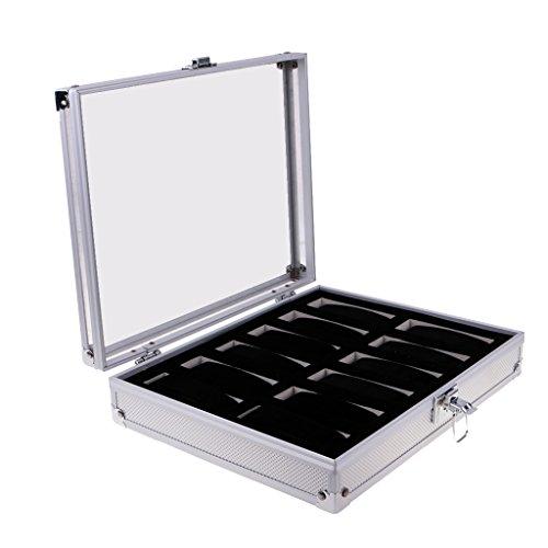 Baoblaze Schmuckkasten Schmuckbox Uhrenbox Uhrenkoffer aus Aluminium - Uhren Kasten - Silber 12 Schlitz