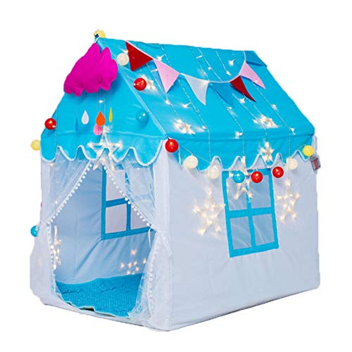 Princess Toy Play Tent with Star Lights Girls Large Playhouse Kids Castle Play Tent for Indoor Outdoor Games for Boys and Girls 120 X 110 X 80cm