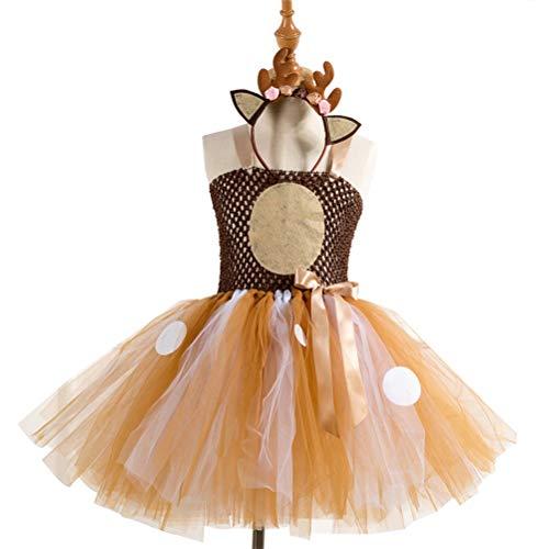 Amosfun Vestido de tutú con Falda de tutú para niñas Cornamenta de Reno Traje de venado de Reno para niña