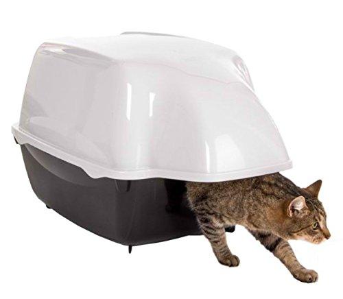 Lettierada esterni per gatti, con ingresso molto ampio, coperchio impermeabile. Adatta a gatti grandi. Colore: bianco e nero