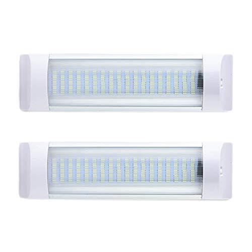 XQK 72 Luces LED para Interiores, 12 V - 80 V, Tira De Luz Brillante para Coche, Barra De Tubo De Luz Blanca para Remolque, Furgoneta, Autobús con Interruptor De Encendido/Apagado (Paquete De 2)