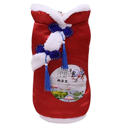 Yowablo Haustier Katze Hundebekleidung, Familie, voller, zweibeiniger Tang-Anzug (M,3- Rot)