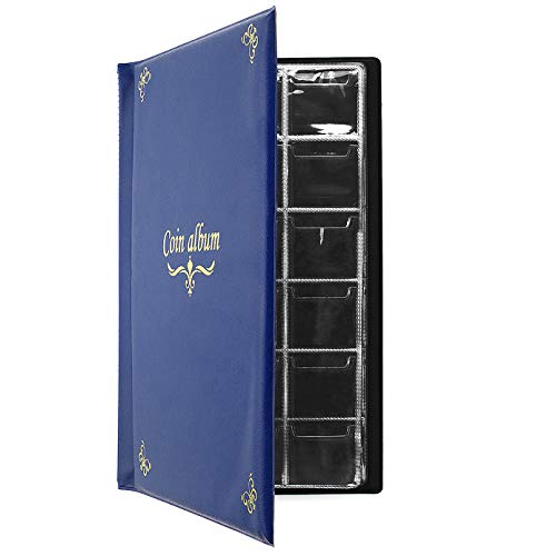 CenterZ 180 Pockets Coin Album, Penny Collecting Book, Souvenir Coins Collection Holder, Ideal for Pressed Pennies Passport, Hobby Coin Collector, Money Specie Display Storage Case (English, Blue)