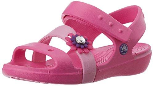 crocs Keeley Petal Charm PS Sandal (Toddler/Little Kid),Neon Magenta/Carnation,13 M US Little Kid