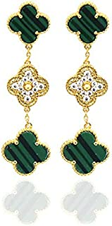 Exquisite Plated 18k Gold Four-leaf Clover Drill Middle Dot Three Flower Earrings Set with Natural Shell Malachite Agate/Leaf Onyx Clover Stud Earrings for Women &Girls