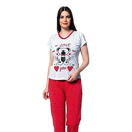 FLASHPIJAMAS Pijamas Mujer Manga Corta, Love You Rojo, Pijama Dos Piezas Camisa Manga Corta pantalón Largo Ropa de Dormir de algodón