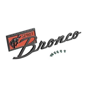 DENNIS CARPENTER FORD RESTORATION PARTS 1966-1977 U-Series Bronco Sport Satin Black with Red Fender Emblem - Compatible with Ford