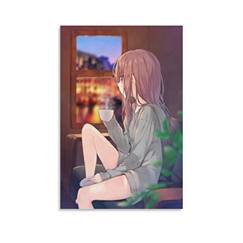 Póster de anime Girl Sitting Alone en lienzo y arte de pared, impresión moderna, para decoración de dormitorio familiar, 50 x 75 cm