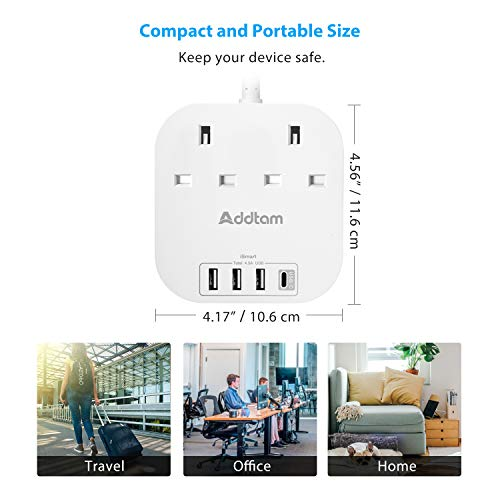 Extension-Lead-with-USB-C-Ports-Power-Strips-with-2-Way-Outlets-4-USB45A-1-Type-C-and-3-USB-A-Port-Surge-Protection-Plug-Extension-Socket-with-18-Meter-Braided-Extension-cord-for-Home-Office