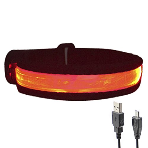Glovion USB Rechargeable High Visibility Armband - Red with Black Brim