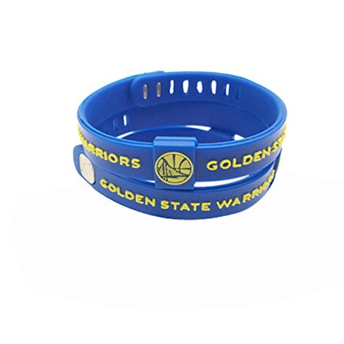 ENJOY 11 NBA Basketball Team Adjustable Silicone Bracelets Wristbands, a Set of Two (Golden State Warriers)