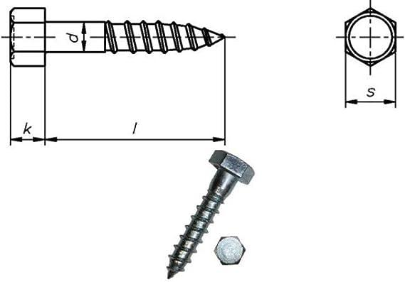 verzinkt 25 St/ück 12x240 mm DIN 571 - Schl/üsselschrauben Schraube Dresselhaus Sechskant-Holzschrauben