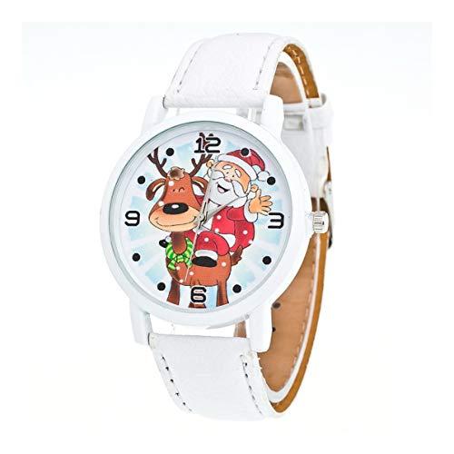 Monllack Reloj con patrón de Alce de árbol de Navidad Reloj de cinturón Estampado Reloj de cinturón con patrón de Estampado de Navidad de Nuevo niño para Mujer (Blanco