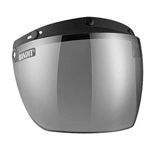 Bandit Helmets Klappvisier für Jet Helme zum anknöpfen,leichte Rasterfunktion, neu, Sports-Farbe:Silver